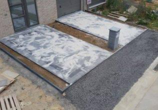 Oprit en terras nieuwe verkaveling